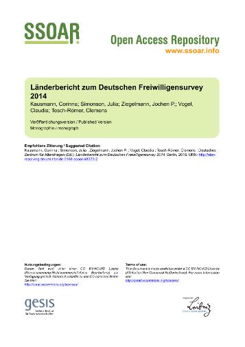 Deutscher Freiwilligensurvey 2014. Länderbericht