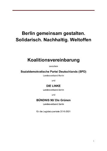 Koalitionsvereinbarung 2016-2021